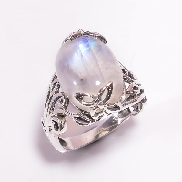 Natural Rainbow Moonstone 925 Sterling Silver Ring Size US 7.5