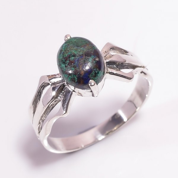 Azurite Gemstone 925 Sterling Silver Ring Size US 9