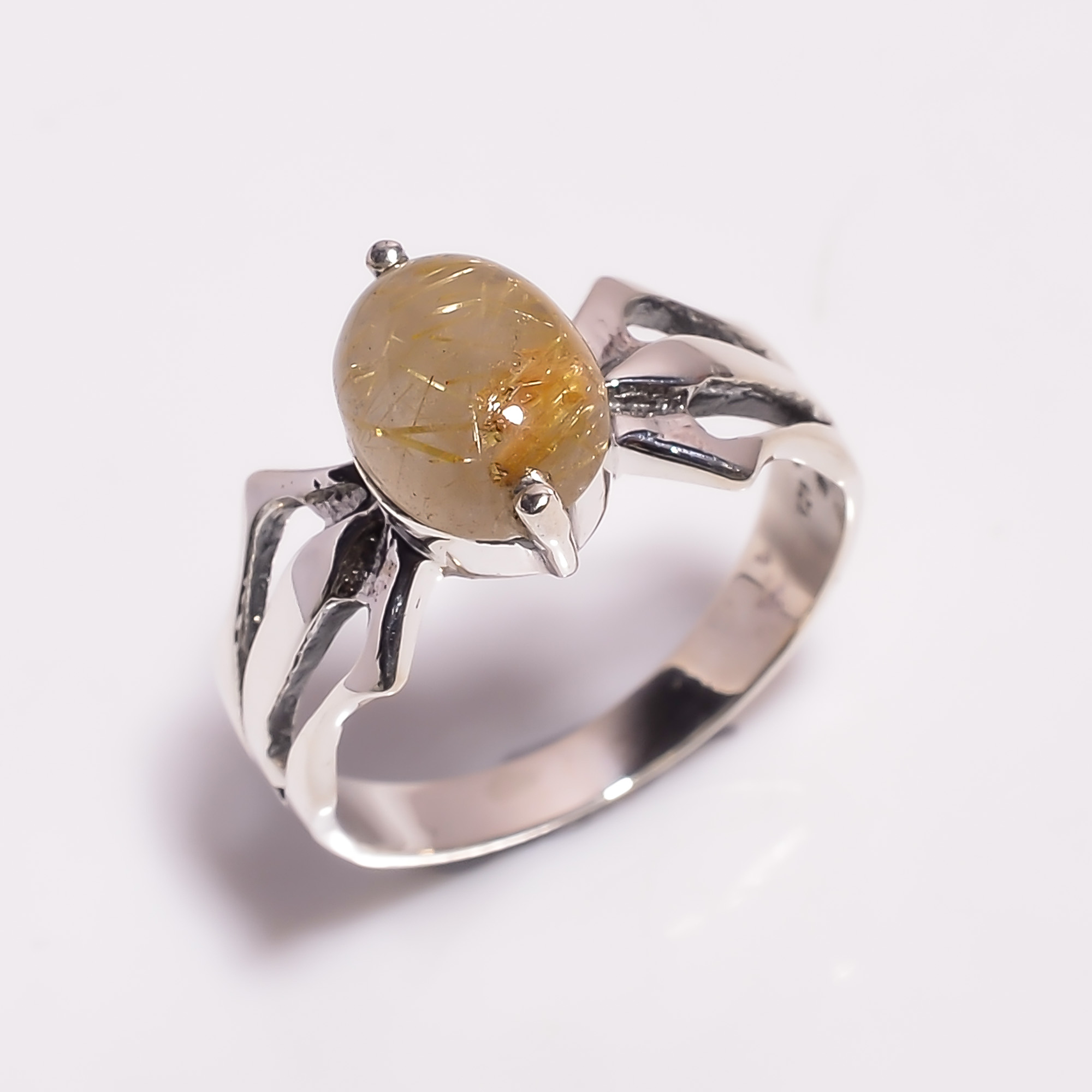 Golden Rutile Gemstone 925 Sterling Silver Ring Size US 7