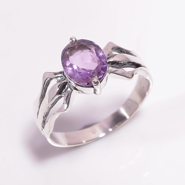 Amethyst  Gemstone 925 Sterling Silver Ring Size US 8