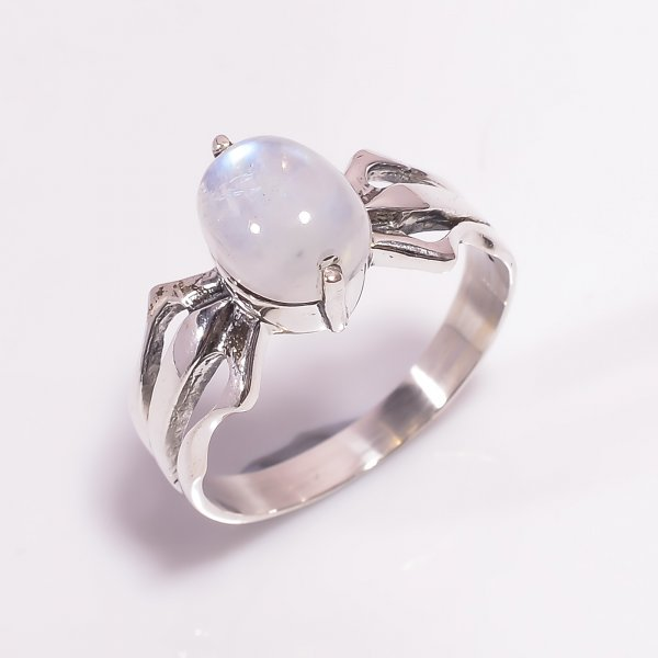 Rainbow Moonstone 925 Sterling Silver Ring Size US 8.25