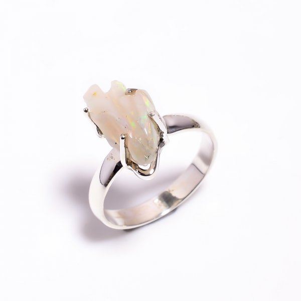 Fire Play Ethiopian Opal Carved Gemstone 925 Sterling Silver Ring Size US 8.25