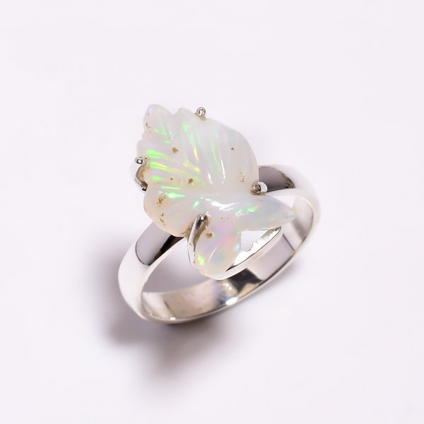 Fire Play Ethiopian Opal Carved Gemstone 925 Sterling Silver Ring Size US 7.5