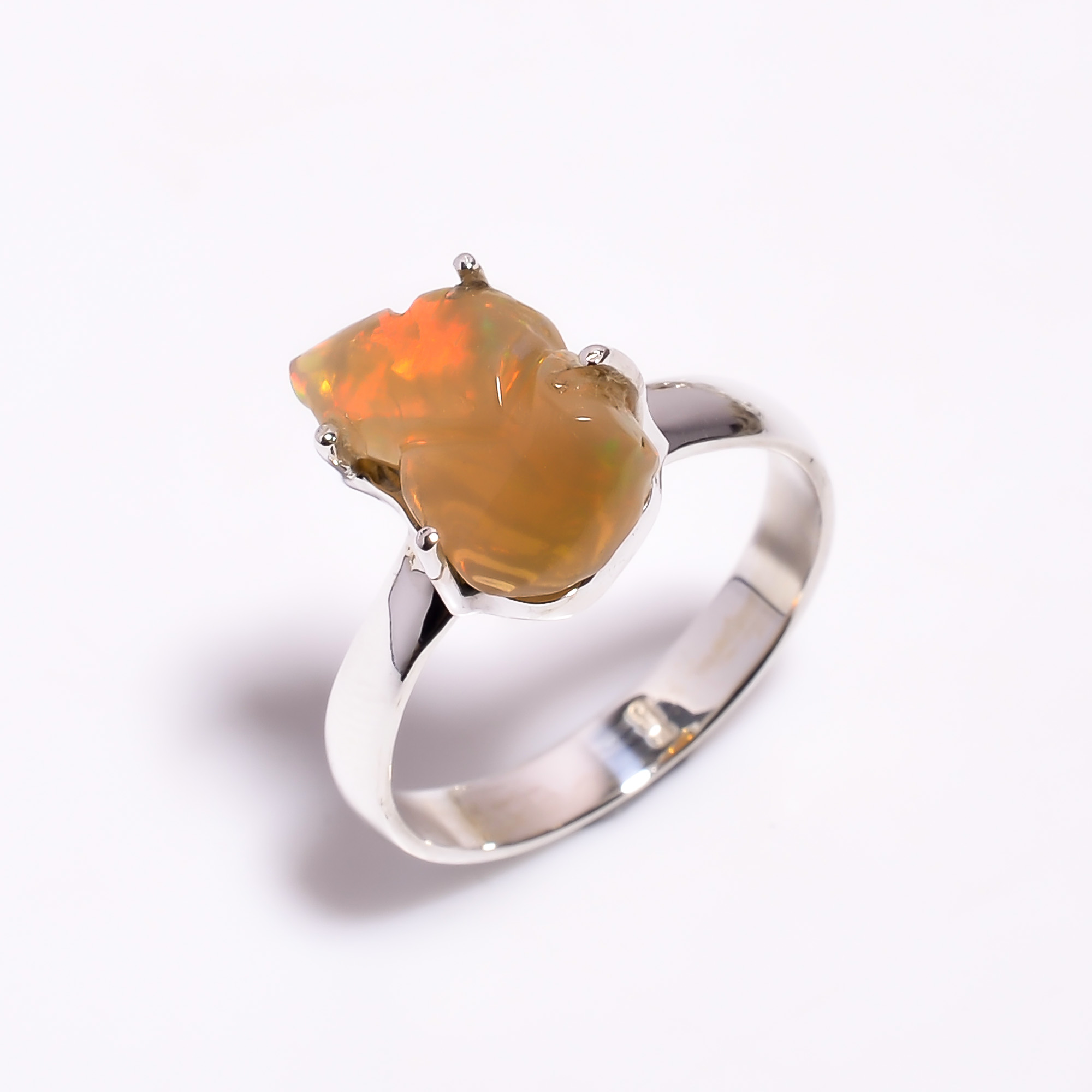 Fire Play Ethiopian Opal Carved Gemstone 925 Sterling Silver Ring Size US 8.75