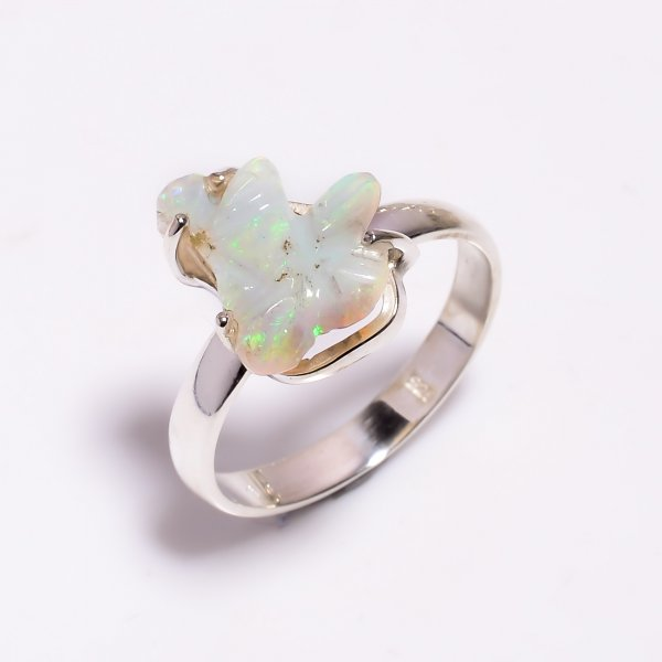 Fire Play Ethiopian Opal Carved Gemstone 925 Sterling Silver Ring Size US 9
