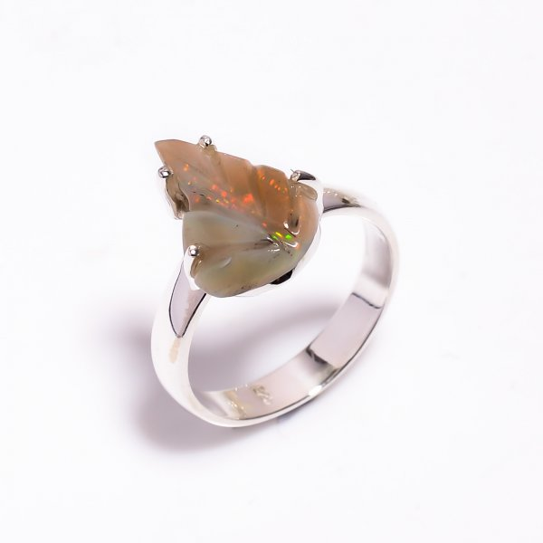 Fire Play Ethiopian Opal Carved Gemstone 925 Sterling Silver Ring Size US 5.75