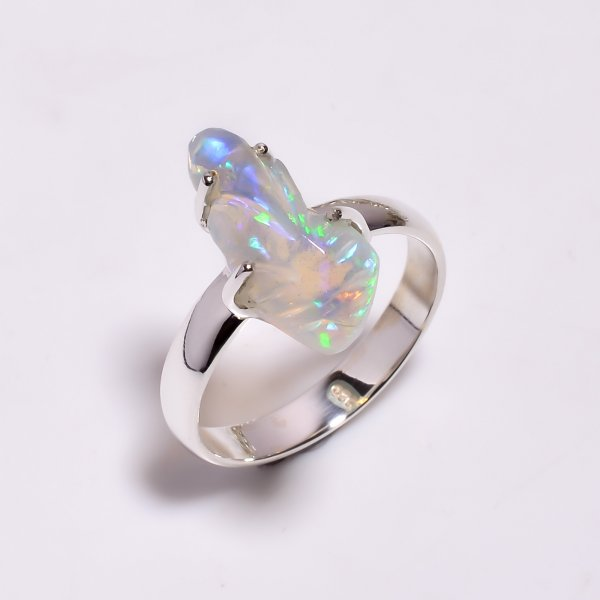 Multi Fire Play Ethiopian Opal Carved Gemstone 925 Sterling Silver Ring Size US 9