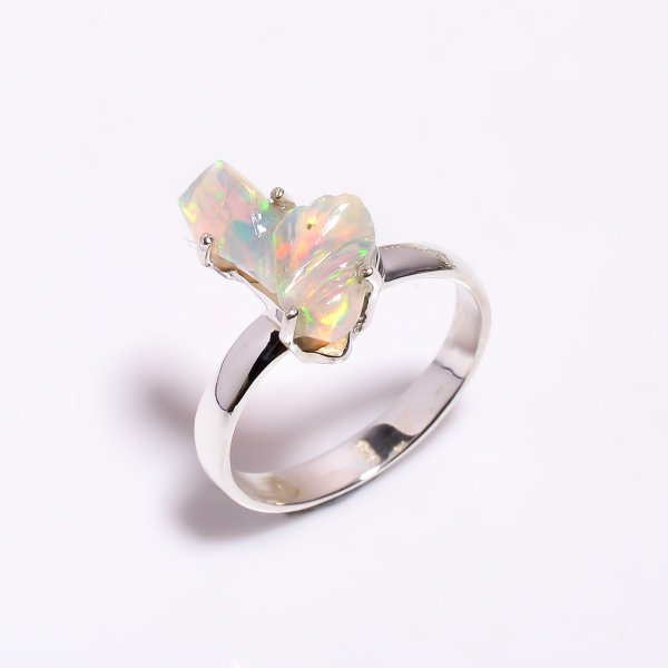 Multi Fire Play Ethiopian Opal Carved Gemstone 925 Sterling Silver Ring Size US 8.75