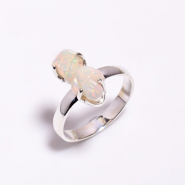Multi Fire Play Ethiopian Opal Carved Gemstone 925 Sterling Silver Ring Size US 8.25