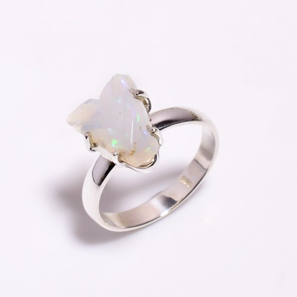 Fire Play Ethiopian Opal Carved Gemstone 925 Sterling Silver Ring Size US 9.25