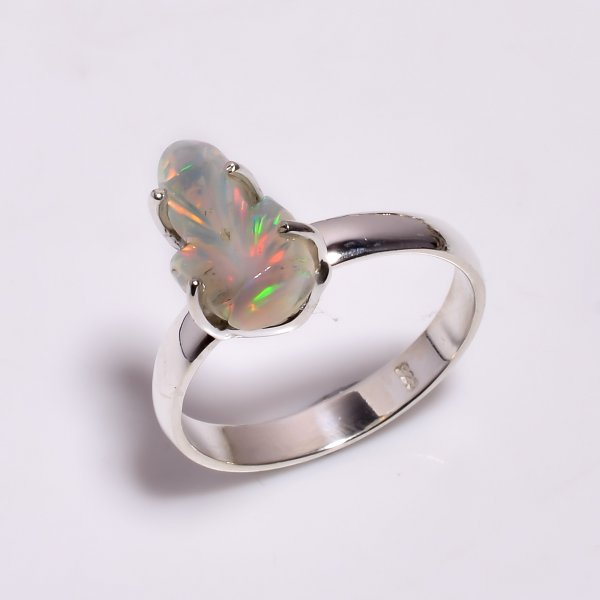 Multi Fire Play Ethiopian Opal Carved Gemstone 925 Sterling Silver Ring Size US 9.25