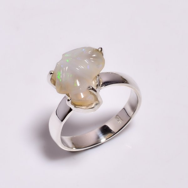 Fire Play Ethiopian Opal Carved Gemstone 925 Sterling Silver Ring Size US 6.5