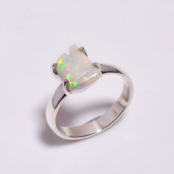 Multi Fire Play Ethiopian Opal Carved Gemstone 925 Sterling Silver Ring Size US 7.5