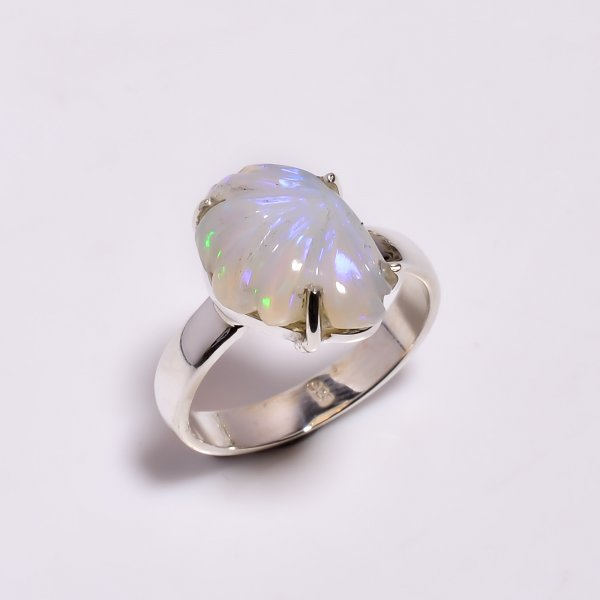 Fire Play Ethiopian Opal Carved Gemstone 925 Sterling Silver Ring Size US 7.25