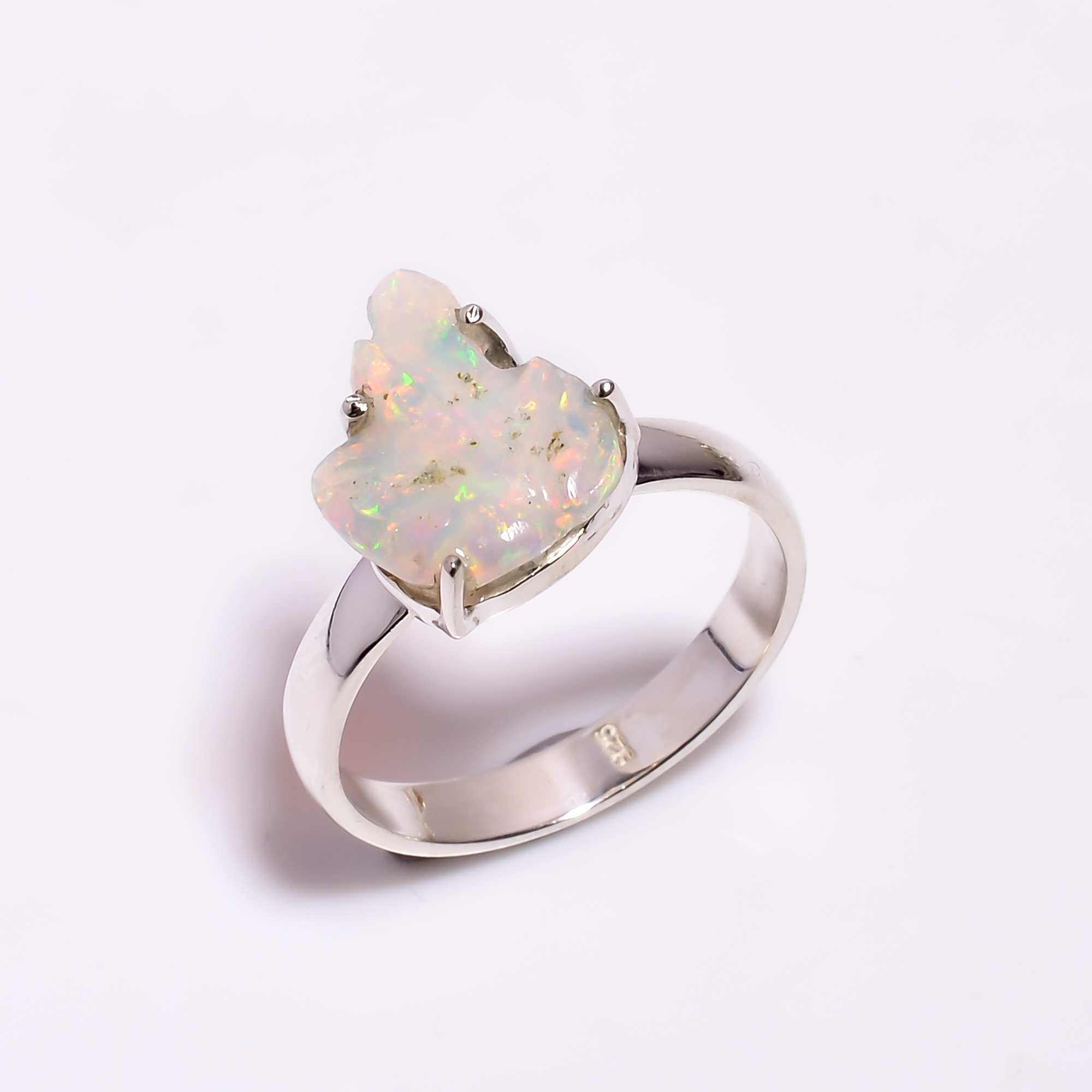 Multi Fire Play Ethiopian Opal Carved Gemstone 925 Sterling Silver Ring Size US 7.75