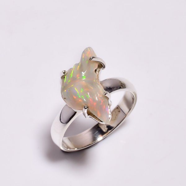 Multi Fire Play Ethiopian Opal Carved Gemstone 925 Sterling Silver Ring Size US 6.25