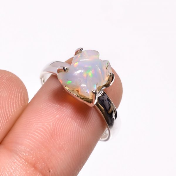 Multi Fire Play Ethiopian Opal Carved Gemstone 925 Sterling Silver Ring Size US 6