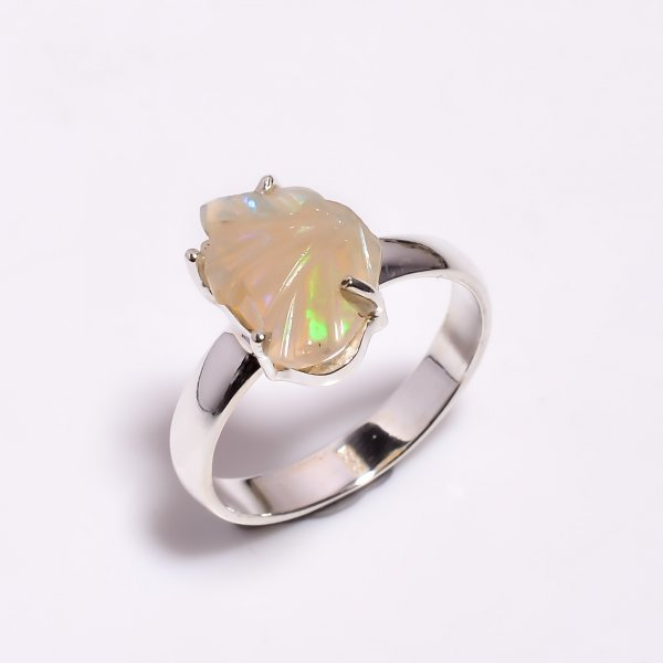 Fire Play Ethiopian Opal Carved Gemstone 925 Sterling Silver Ring Size US 8