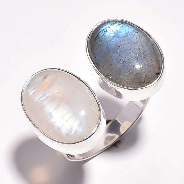 Natural Rainbow Moonstone Labradorite 925 Sterling Silver Adjustable Ring