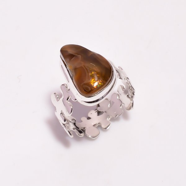 Natural Mexican Fire Agate Gemstone 925 Sterling Silver Ring Size US 7.5