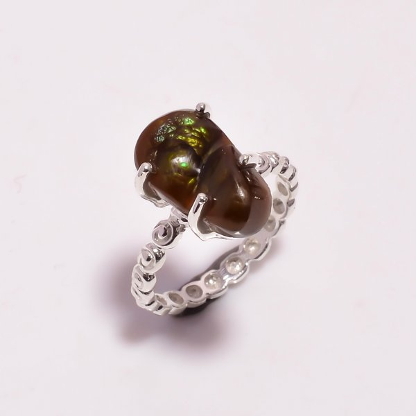 Natural Mexican Fire Agate Gemstone 925 Sterling Silver Ring Size US 6