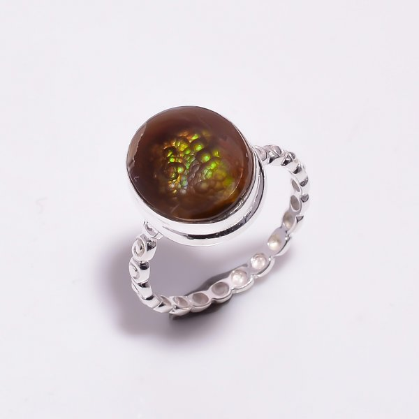 Natural Mexican Fire Agate Gemstone 925 Sterling Silver Hammered Ring Size US 8.25