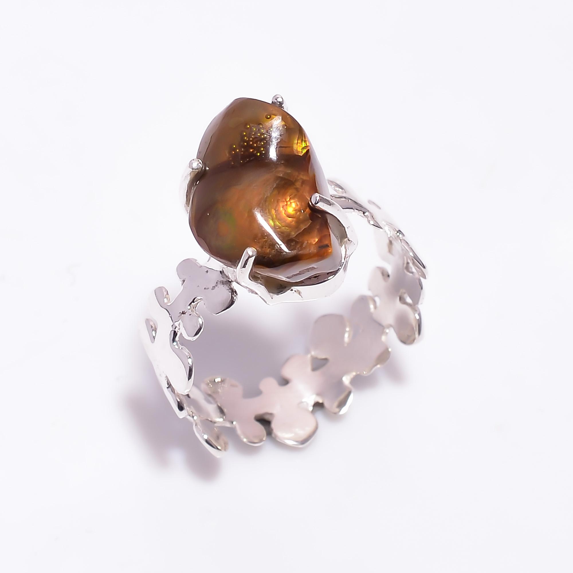 Natural Mexican Fire Agate Gemstone 925 Sterling Silver Hammered Ring Size US 9