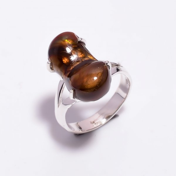 Natural Mexican Fire Agate Gemstone 925 Sterling Silver Ring Size US 8.25