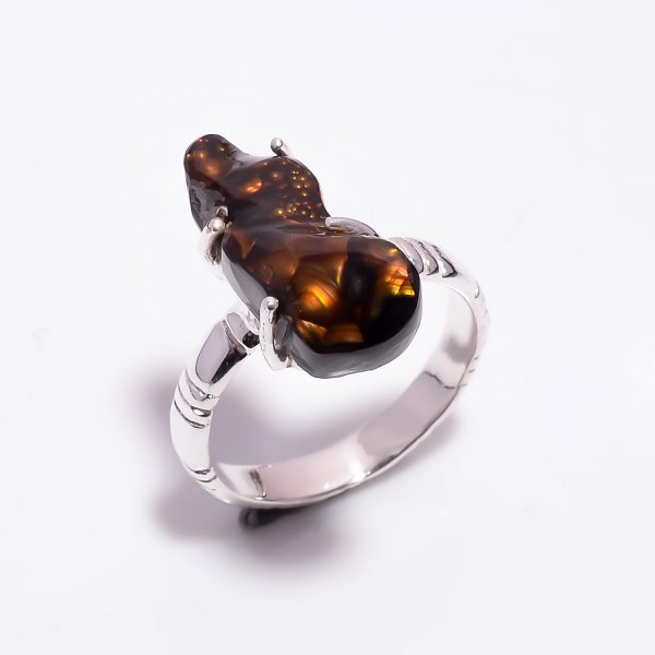 Natural Mexican Fire Agate Gemstone 925 Sterling Silver Ring Size US 9.5