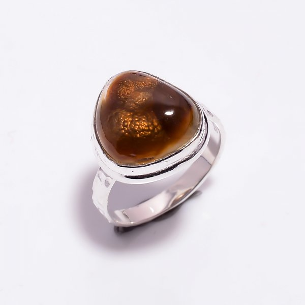 Natural Mexican Fire Agate Gemstone 925 Sterling Silver Hammered Ring Size US 7.25