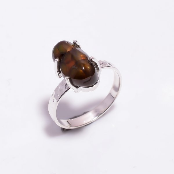 Natural Mexican Fire Agate Gemstone 925 Sterling Silver Hammered Ring Size US 8.5