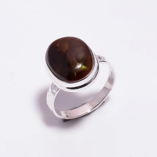 Natural Mexican Fire Agate Gemstone 925 Sterling Silver Hammered Ring Size US 8