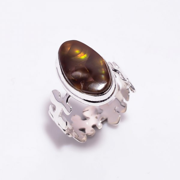 Natural Mexican Fire Agate Gemstone 925 Sterling Silver Ring Size US 7.25