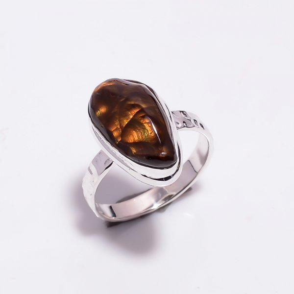 Natural Mexican Fire Agate Gemstone 925 Sterling Silver Ring Size US 6.25