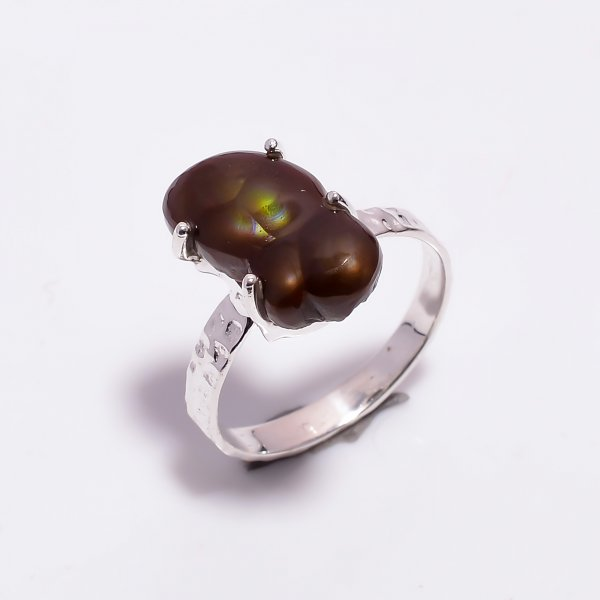 Natural Mexican Fire Agate Gemstone 925 Sterling Silver Ring Size US 8.75