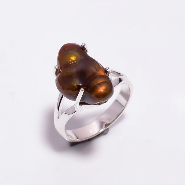 Natural Mexican Fire Agate Gemstone 925 Sterling Silver Ring Size US 8