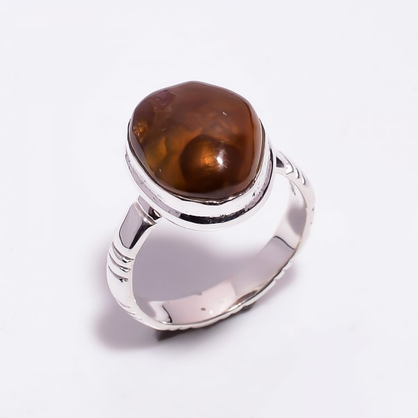 Natural Mexican Fire Agate Gemstone 925 Sterling Silver Ring Size US 8.5