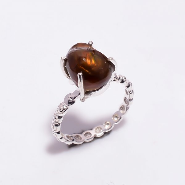 Natural Mexican Fire Agate Gemstone 925 Sterling Silver Ring Size US 6.5