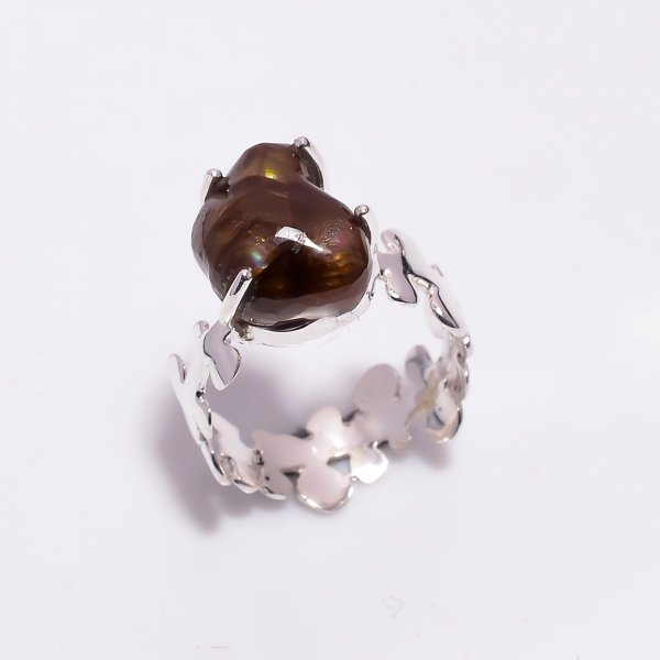 Natural Mexican Fire Agate Gemstone 925 Sterling Silver Ring Size US 7
