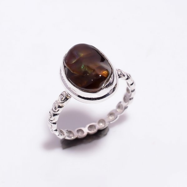 Natural Mexican Fire Agate Gemstone 925 Sterling Silver Ring Size US 6.75