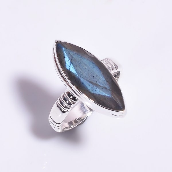 Labradorite Gemstone 925 Sterling Silver Ring Size US 7.25