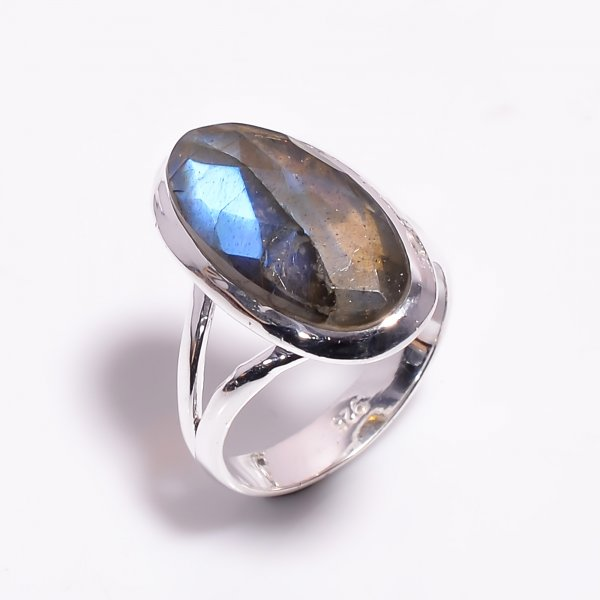 Labradorite Gemstone 925 Sterling Silver Ring Size US 7