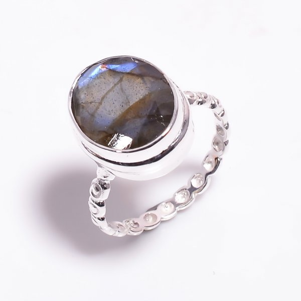 Labradorite Gemstone 925 Sterling Silver Ring Size US 8