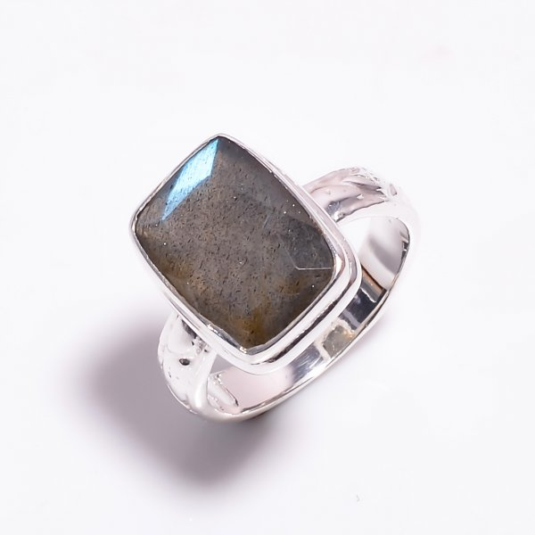Labradorite Gemstone 925 Sterling Silver Ring Size US 6.25
