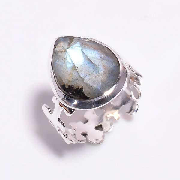 Labradorite Gemstone 925 Sterling Silver Ring Size US 7.75