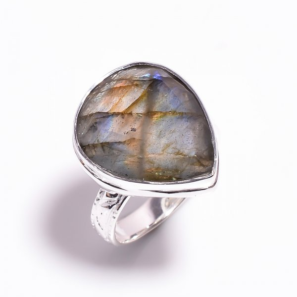 Labradorite Gemstone 925 Sterling Silver Ring Size US 8.5
