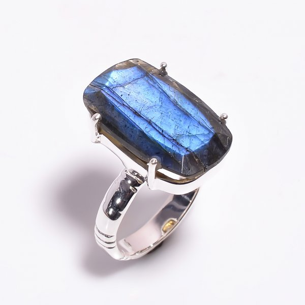 Labradorite Gemstone 925 Sterling Silver Ring Size US 6.5