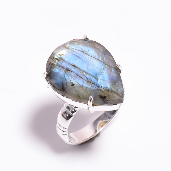 Labradorite Gemstone 925 Sterling Silver Ring Size US 8.25