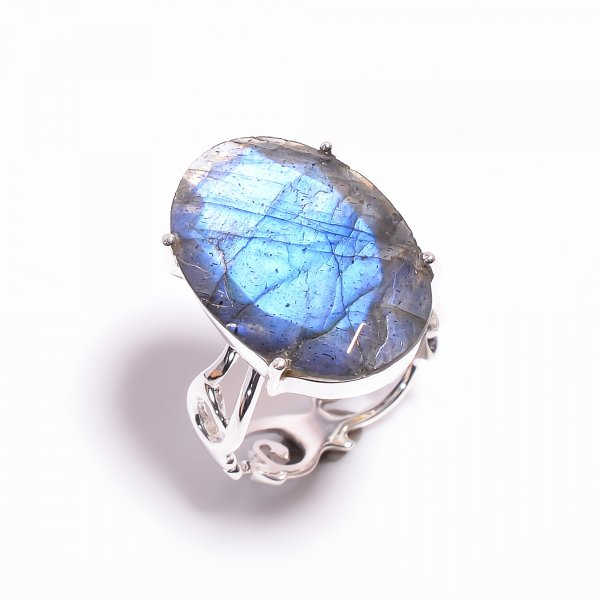 Labradorite Gemstone 925 Sterling Silver Ring Size US 7.5