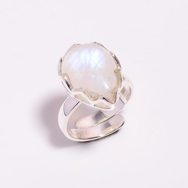 Natural Rainbow Moonstone 925 Sterling Silver Ring Size US 6.5 Adjustable